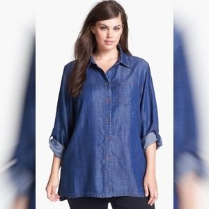 Foxcroft Shaped Fit Tencel Chambray Top